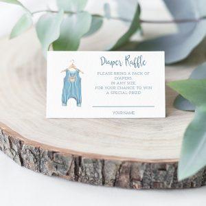 Printable Diaper Raffle Card- Blue Onesie