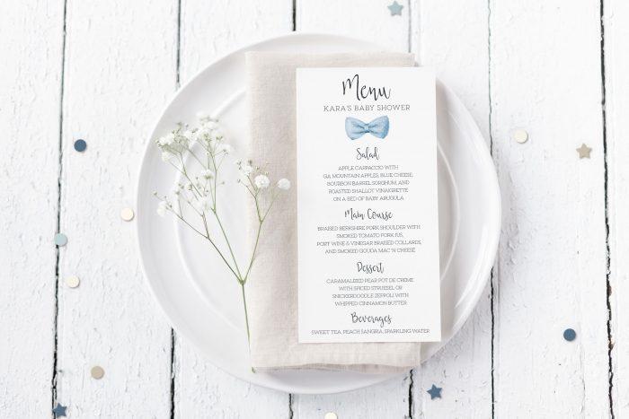 Printable Baby Shower Menu Cards- Light Blue Bow Tie