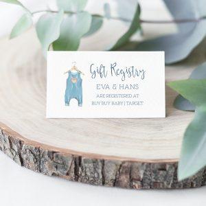Printable Baby Shower Gift Registry Card- Blue Onesie