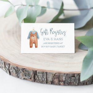 Printable Baby Shower Gift Registry Card- Brown Onesie