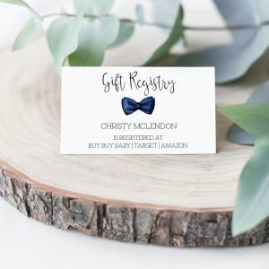 Printable Baby Shower Gift Registry Card- Navy Bow Tie
