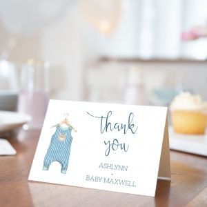 Printable Baby Shower Thank You Card- Blue Onesie