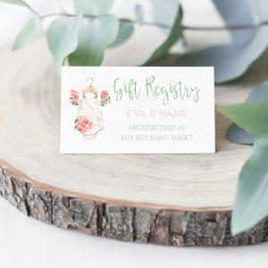 Printable Baby Shower Gift Registry Card- Floral Onesie