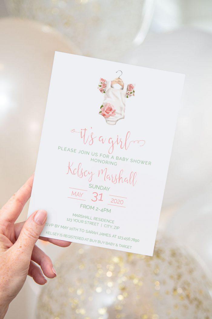 Printable Baby Shower Invitation- Floral Onesie