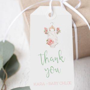 Printable Baby Shower Tags- Floral Onesie