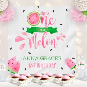 Printable Watermelon One in a Melon Backdrop