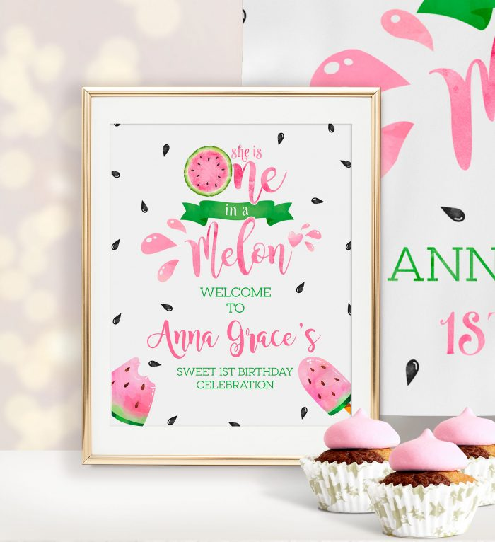 Printable Watermelon One in a Melon Sign