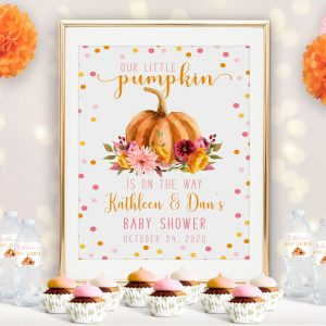 Printed Little Pumpkin Baby Shower Poster